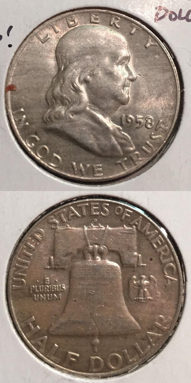 1958-D U S  Franklin Half Dollar ~Silver~High Grade ~ - TWIN