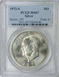 1972 S $1 Silver Ike Eisenhower Dollar PCGS MS67